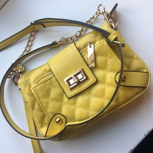 Yellow purse with adjustable strap